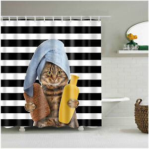 Funny Cat Bathing Decor Bath Shower Curtain Stripe background Curtains 12 Hooks