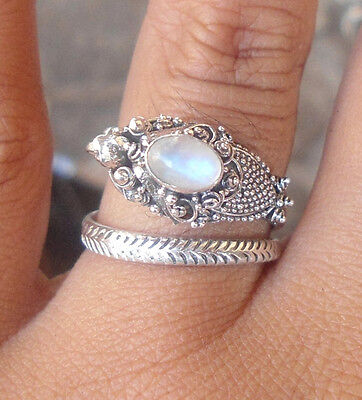5x Sterling Silver Balinese Dragon Ring Free Size With Rainbow Moonstone-RD001
