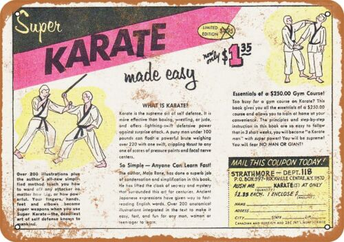 Metal Sign 1968 Super Karate Made Easy Vintage Look Reproduction