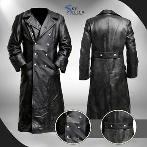 German Classic Officer WW2 Military Uniform Black Leather Trench ...