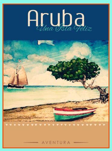 Caribbean Aruba Una Isla Feliz Dutch America Travel Advertisement Art Poster