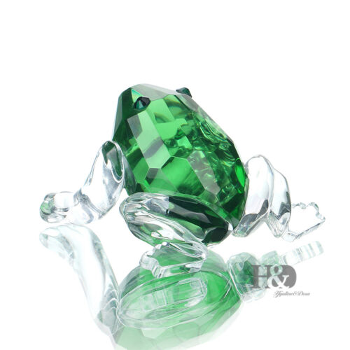 Green Crystal Glass Frog Figurine Art Craft Paperweight Xmas Home Decor Gifts