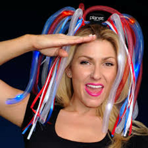 4th OF JULY  LED LIGHT UP NOODLE HEADBAND FLASHING RAVE PARTY DIVA DREADS