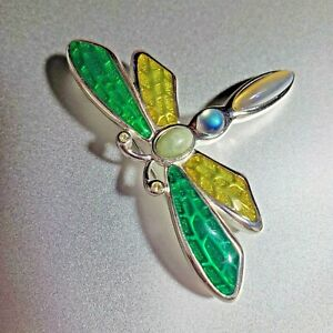 f1b8b15476631 Details about Monet Jewelry Signed Brooch Pin Dragonfly Multicolor Green  Yellow
