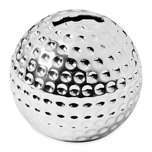 Tirelire tirelire balle de golf hauteur 8 cm démarrage protégé noble argenté