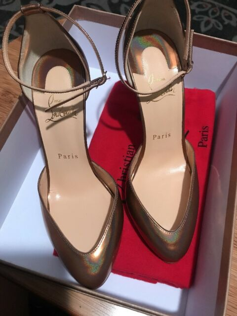 5ac5e5bfe918 100 Authentic Women Louboutin Dollyla 100 Cappuccino Metal Pumps heels US 8