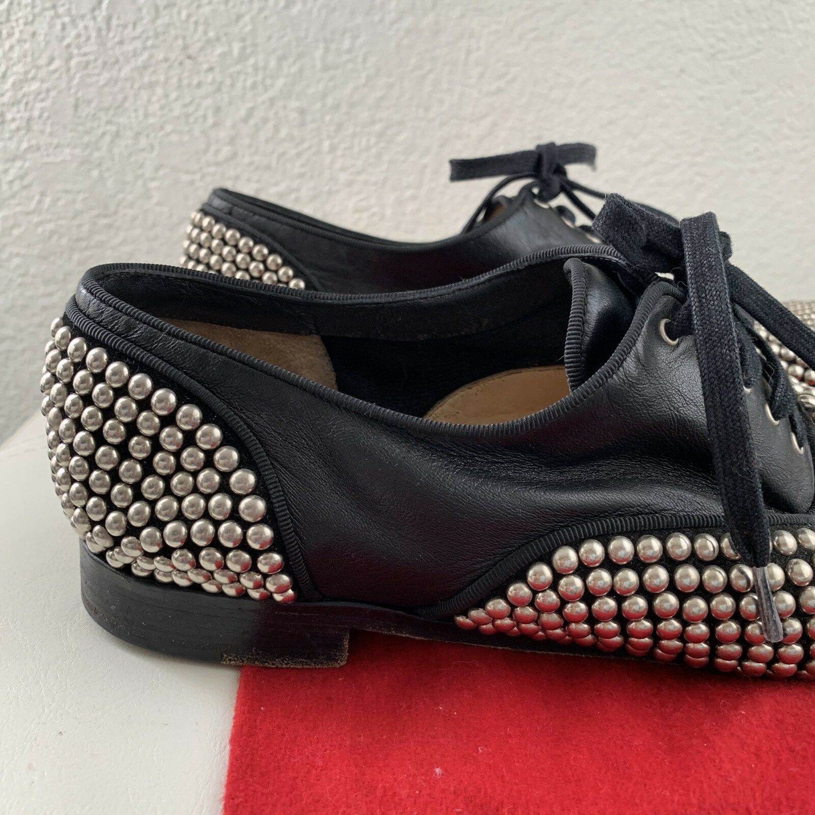 Christian Louboutin Black Black Black Leather Lambskin Silver Stud Fred Lace shoes Sz 41 ea38a2