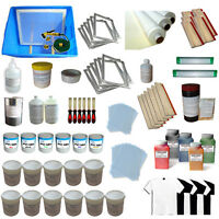 6 Color Silk Screen Printing Full Set Kit Exposure Unit & Squeegee Ink Supply