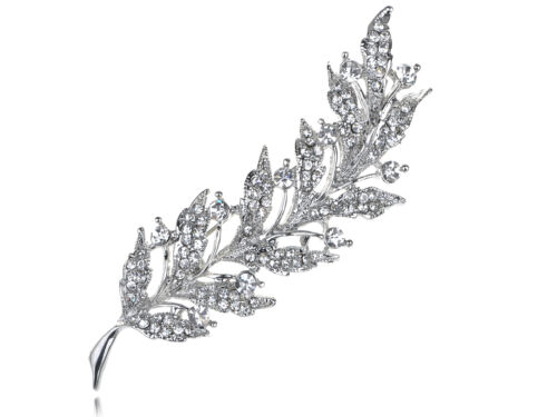 SHINY LADY Feather Leaf Clair Cristal Strass Sliver Tone Vacances Broche