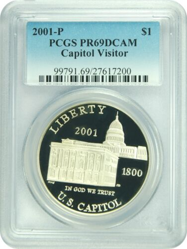 2001-P PCGS PR69DCAM Capitol Visitor Dollar New PCGS Label