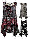 Womens Plus Size Slouch Fit Vest Top Printed Black Pink Ladies New Sz 16-32