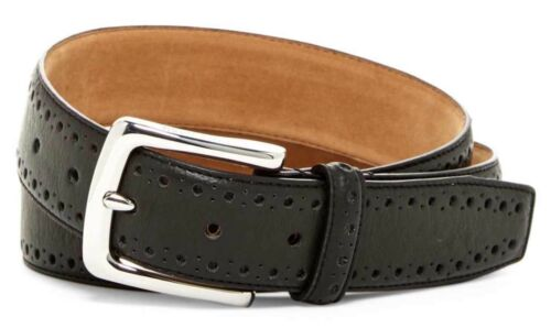 COLE HAAN MEN'S BELT PERFORATED TRIM DRESS BELT IN BLACK NEW W//TAGS