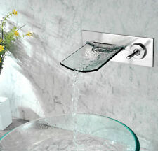 Chrome Wall Mount Waterfall Bathroom Sink Faucet with Glass Spout Basin Bath Tap