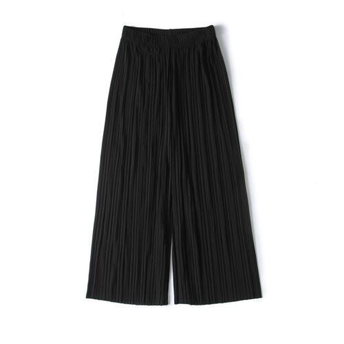Femme Pantalon jambe large plissé Palazzo taille élastique mousseline de soie