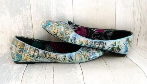 Customised Sizes In Alice Retro Wonderland 3 Flat Shoes Decoupage Uk 8 Hand qURwZ