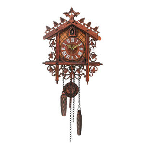 1 Pcs Retro Vintage Wood Cuckoo Wall Clock Hanging Handcraft for Living C1W0