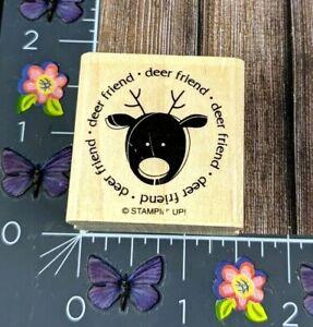 Stampin' Up! Deer Friend Reindeer Rubber Stamp Circle Greetings Wood Mount #B83