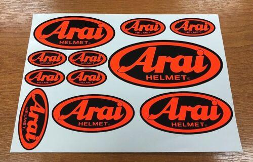 Arai Stickers 11 Orange Fluorescent sur Noir Qualité Imprimé /& Laminé Casque