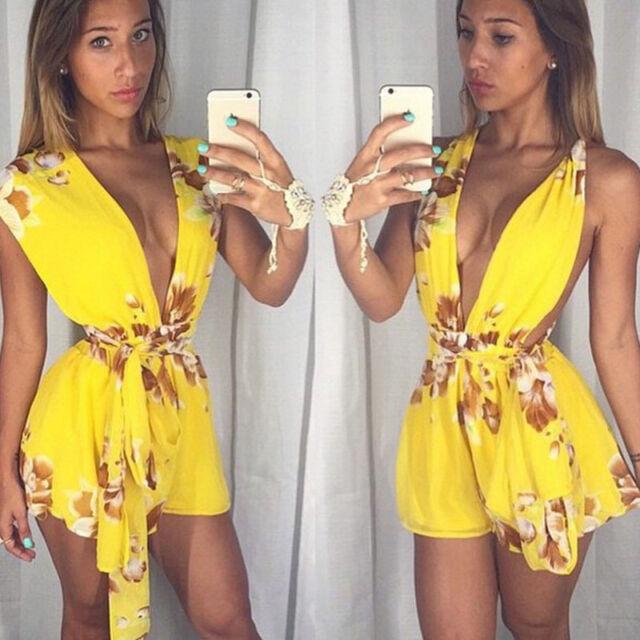 AU New Women Celeb Playsuit Party Evening Summer Ladies Dress Shorts Jumpsuit