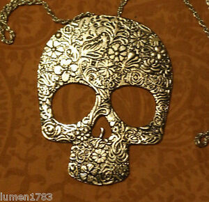 Skull Head Large Gold Embossed Altar Pendant Necklace