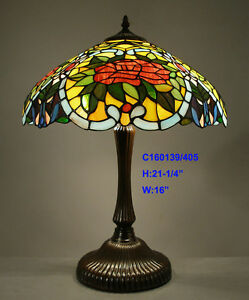 LIMITED-TIFFANY-STYLE-STAINED-GLASS-HUGE-ROSE-LEADLIGHT-TABLE-LAMP