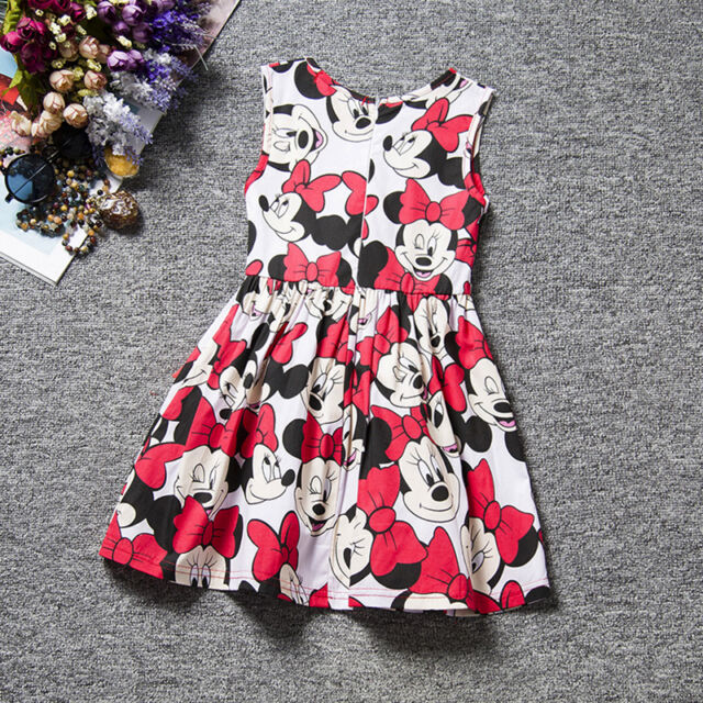 New Cute Baby Girls Kids Minnie Mouse Bowknot Cosplay Printed Tunic Dress Skirt