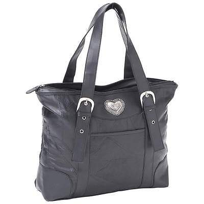 Black Leather Lambskin Purse Silver Tone Heart Shoulder Handbag Concho Tote Bag