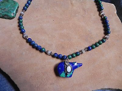 Azurite, Sterling Silver, Moonstone Necklace w Azurite & Opal BEAR Pendant 18.5""