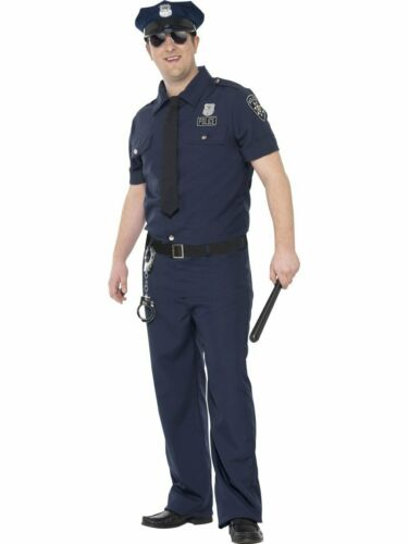 CA291 Curves Mens NYC Police Man Plus Costume Cops /& Robbers Fancy Dress /& Hat