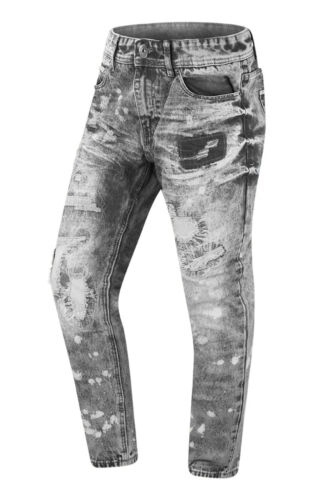 NEW Men Paint Splattered Distressed Ripped Patched Jeans Pants Denim Gray Vintag