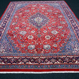 Orient Teppich Rot 365 X 285 Cm Blau Perserteppich Handgeknupft Red