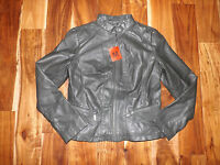 Womens Bernardo Army Green Full Zip Faux Leather Jacket Sz M Medium