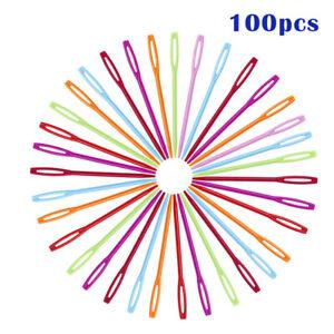 100-Stueck-Kunststoff-Naehnadel-Schnuerung-Nadeln-Bunt-Tragbar-DIY-Werkzeug-DE