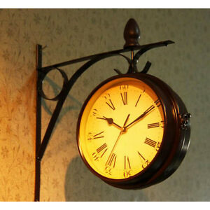 Antique Style Double Sided Interior Wall Clock Double Faced Vintage ...
