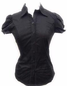 Women-039-s-Puff-over-lay-Short-Sleeve-Button-Down-Princess-Cut-Stretch-Shirt