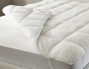 Sherpa-Fleece-Mattress-Topper-Cool-Cotton-Blend-Reversible-Single-Double-King-SK