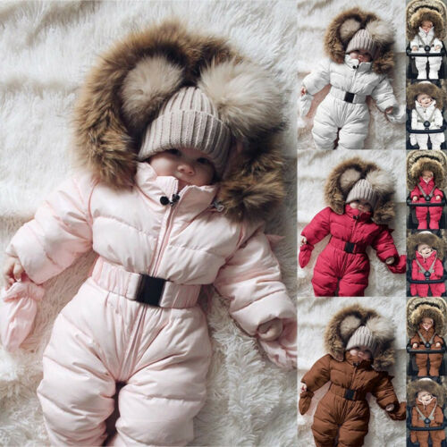 Hot Toddler Baby Boy Girl Winter Romper Jacket Hooded Jumpsuit Coat Outfit Gift
