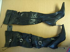Ladies Boots No Doubt black PU thigh high, size UK 3, EU 35.5, stiletto 3365