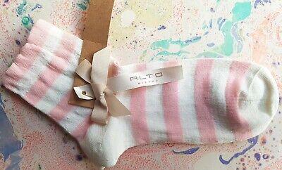 Alto Milano Da Donna Lino A Righe Calzini Corti Rose & Bianco Taglia Uk 3-7 Eu 36-40- Materiali Di Alta Qualità Al 100%