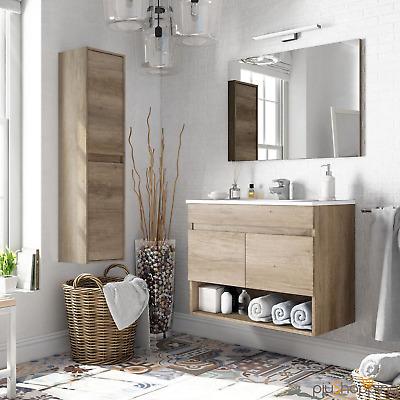 Mobile bagno sospeso 80cm 2 ante cassetto legno specchio for Colonna mobile bagno