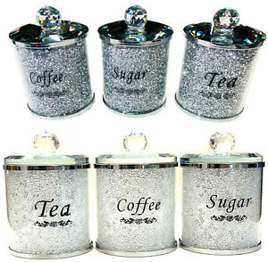 Nouveau-ecrase-Superbe-Diamant-Argent-Rempli-The-Cafe-Sucre-Boites-Pots