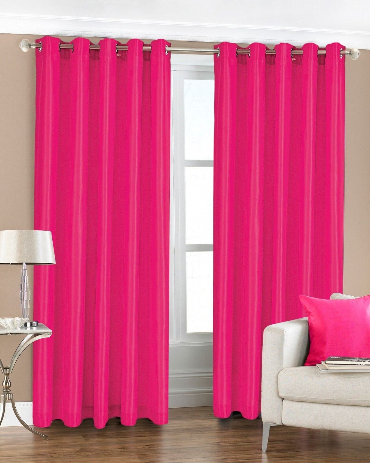 Extra Wide Long Drop Luxury Faux Silk Curtains Lined