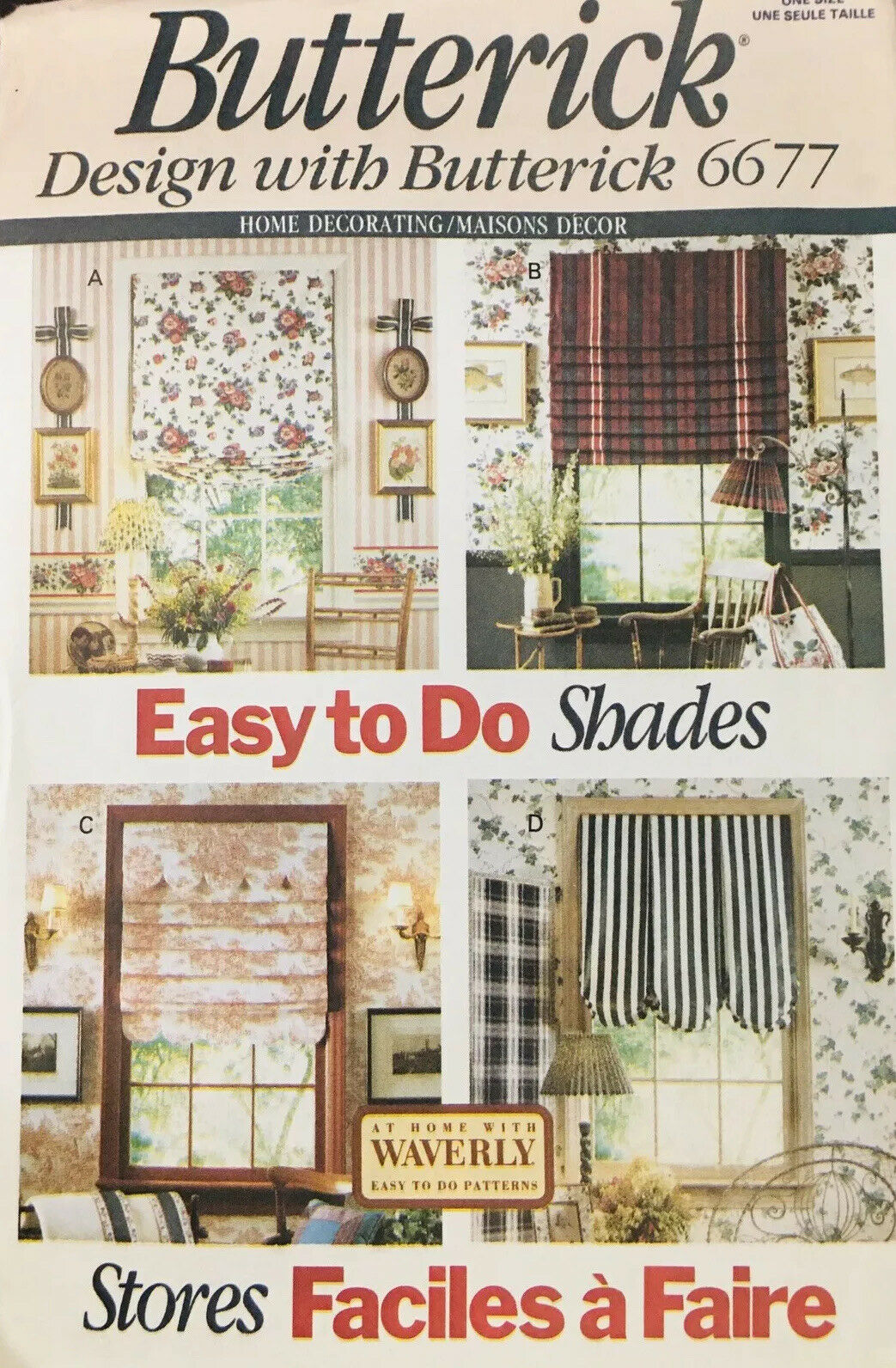 Butterick 3117 Uncut Sewing Pattern 2001 Home D\u00e9cor Waverly Window Treatments