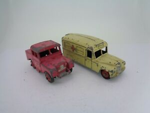 2x-VINTAGE-Dinky-toys-diecast-Daimler-AMBULANCE-amp-Land-Rover-Mersey-Tunnel