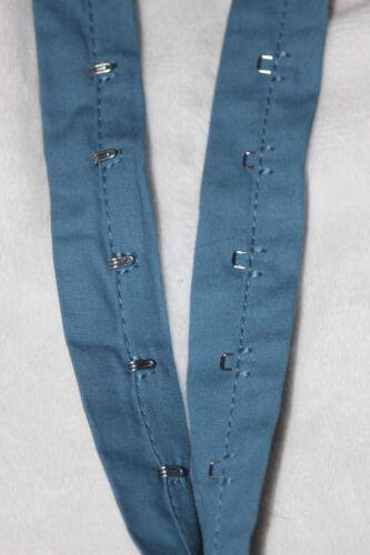 2 yards Cotton Denim Blue Silver Metal hook eye tape Corset DIY
