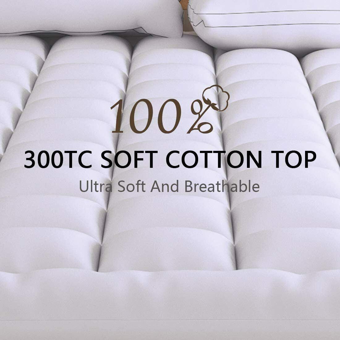 THLAND Queen Mattress Topper Extra Thick Pillow Top Cooling Mattress Pad Cover Cotton with Snow Down Alternative Fill