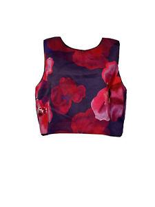 belle badgley mischka Women's Size 14 floral sleeveless crop top