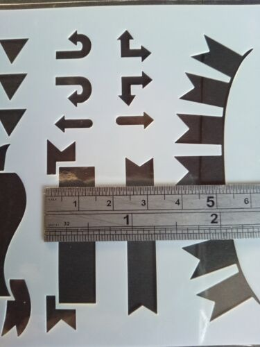 Stencil Banner Directions Shapes Cardmaking Scrapbooking Journal Planner Craft 9