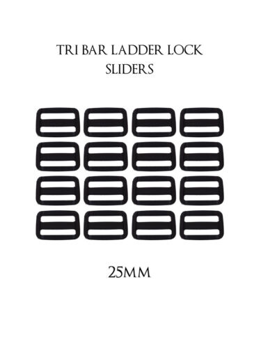 25 Mm x 10 plástico Delrin 3 barra diapositivas Tri Glide Hebillas Negro Para Correas