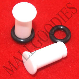 1304-White-Acrylic-Single-Flare-4-Gauge-4G-Plugs-5mm-MallGoodies-1-Pair